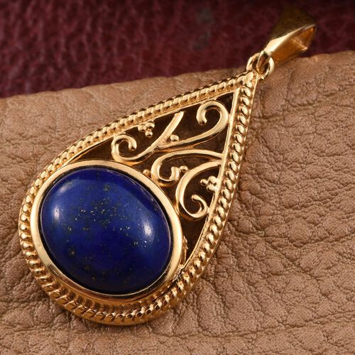 Lapis Lazuli (Ovl) Solitaire Pendant in 14K Gold Overlay Sterling Silver 5.250 Ct.