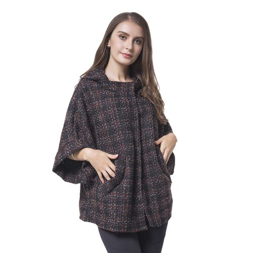 Designer Inspired -Black, Brown and Grey Colour Checks Pattern Cape (Size 75X60 Cm)