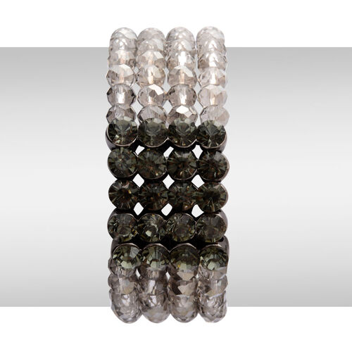 4 Row Grey Cut Glass and Grey Austrian Crystal Bracelet