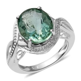 Mint Green Fluorite (Ovl) Solitaire Ring in Sterling Silver 6.000 Ct.