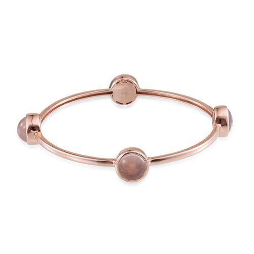 Rose Quartz (Rnd) Bangle (Size 7.5) in Rose Gold Overlay Sterling Silver 15.000 Ct.