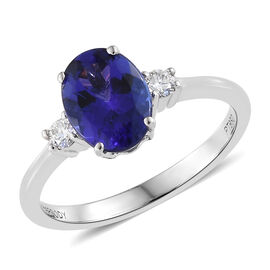 WEBEX- Rhapsody 950 Platinum AAAA Tanzanite (Ovl 1.55 Ct) Diamond (VF/E-F) 3 Stone Ring 1.650 Ct.