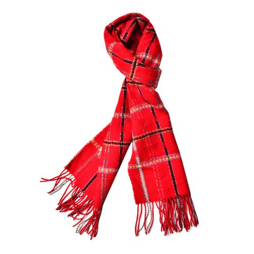 100% Wool Red, Black and Multi Colour Checks Pattern Scarf with Tassels (Size 170X25 Cm)