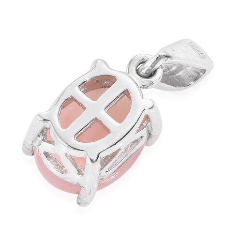 Natural Peruvian Pink Opal (Ovl) Solitaire Pendant in Platinum Overlay Sterling Silver 1.500 Ct.
