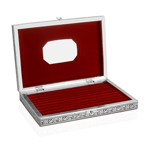 Handcrafted Horse Embossed 80 Slots Ring Box with Red Velvet and Mirror Inside (Size 28X20X5 Cm)