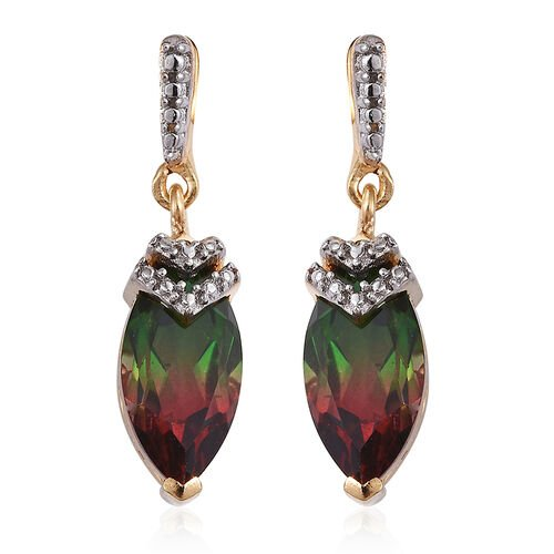 Bi-Color Tourmaline Quartz (Mrq) Earrings (with Push Back) in 14K Gold Overlay Sterling Silver 3.000 Ct.