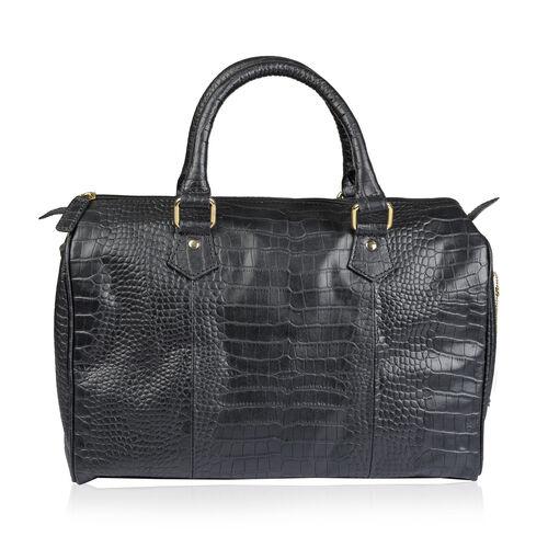 Genuine Leather RFID Blocker Black Colour Shoulder Bag with Zipper Closure (Size 35X26X15 Cm)