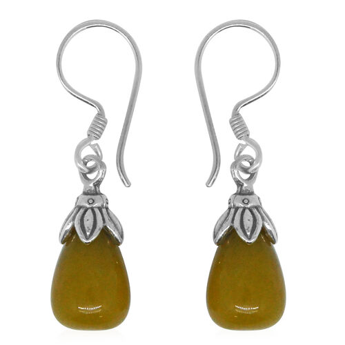 Super Auction - Royal Bali Collection Yellow Jade (Pear) Drop Hook Earrings in Sterling Silver 17.200 Ct.