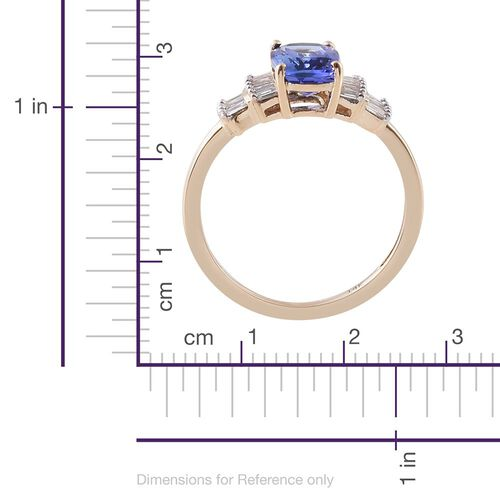 New York Collection - 14K Y Gold Tanzanite (Cush 1.52 Ct), Diamond (I3/G-H) Ring 1.750 Ct.