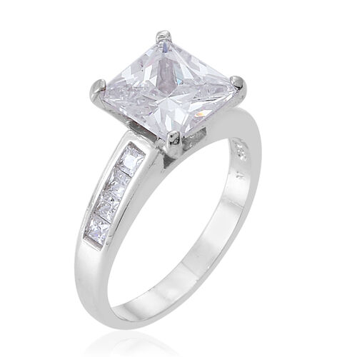 ELANZA AAA Simulated White Diamond (Sqr) Ring in Rhodium Plated Sterling Silver