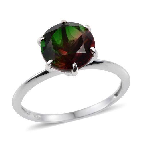 Bi-Color Tourmaline Quartz (Rnd) Solitaire Ring in Platinum Overlay Sterling Silver 4.250 Ct.