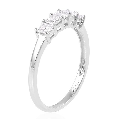 ILIANA 18K White Gold 0.50 Carat Princess Cut Diamond 5 Stone Ring, SI G-H, IGI Certified