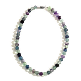 Very Rare Celestial Colour Fluorite (Rnd) Beads Necklace (Size 18) with Magnetic Clasp in Rhodium Plated Sterling Silver 450.000 Ct.