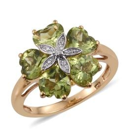 AA Hebei Peridot (Hrt), Diamond Floral Ring in 14K Gold Overlay Sterling Silver 4.260 Ct.