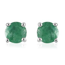 Kagem Zambian Emerald (Rnd) Stud Earrings (with Push Back) in Platinum Overlay Sterling Silver 0.500 Ct.