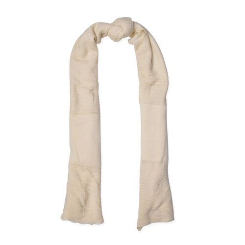 Off White Colour Pull Through Scarf (Size 150x60 Cm)