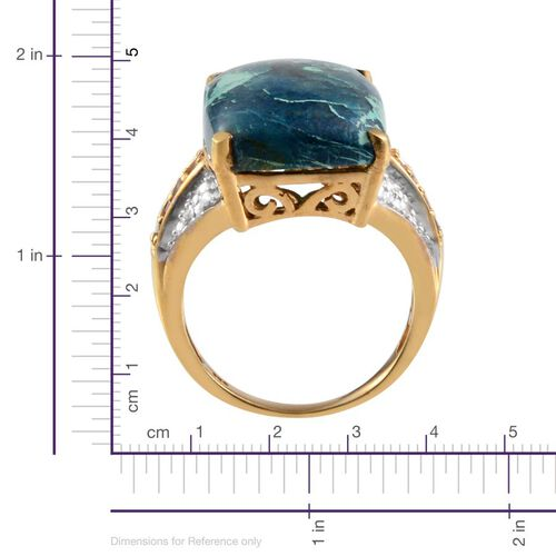 Table Mountain Shadowkite (Cush 17.25 Ct), Paraiba Apatite and Diamond Ring in 14K Gold Overlay Sterling Silver 17.520 Ct.