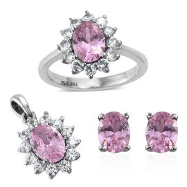 Super Bargin Price - AAA Simulated Pink Sapphire (Ovl), Simulated Diamond Ring, Pendant and Stud Earrings (with Push Back)