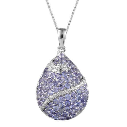 Tanzanite (Rnd), Diamond Cluster Pendant With Chain in Platinum Overlay Sterling Silver 3.170 Ct.