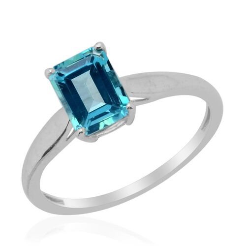 Signity Paraiba Topaz (Oct) Solitaire Ring in Platinum Overlay Sterling Silver  1.900 Ct.