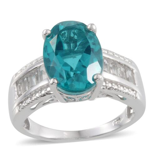 Capri Blue Quartz (Ovl 6.75 Ct), White Topaz Ring in Platinum Overlay Sterling Silver 8.000 Ct.