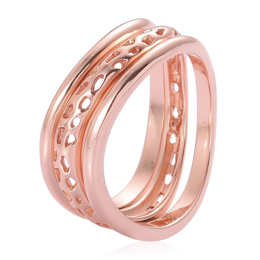 RACHEL GALLEY Rose Gold Overlay Sterling Silver Stacking Wave 3 Ring ...