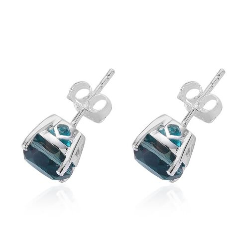 Capri Blue Quartz (Rnd) Stud Earrings (with Push Back) in Sterling Silver 4.500 Ct.