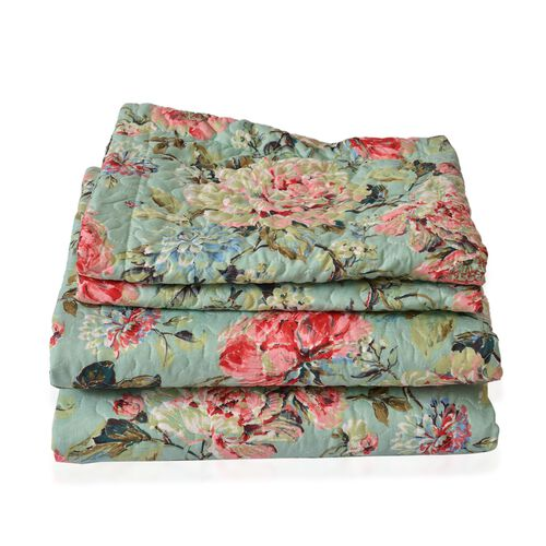 Green and Multi Colour Floral and Leaves Pattern Microfiber Reversible Duvet Cover (Size 200X200 Cm), Fitted Sheet (Size 200X150 Cm) and 2 Pillow Shams (Size 70X50 Cm)
