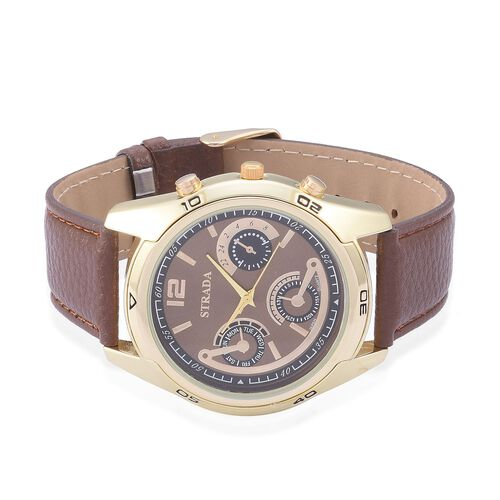 STRADA Japanese Movement Chronograph Look Chocolate Dial Water Resistant Watch in Gold Tone with Stainless Steel Back and Chocolate Strap
