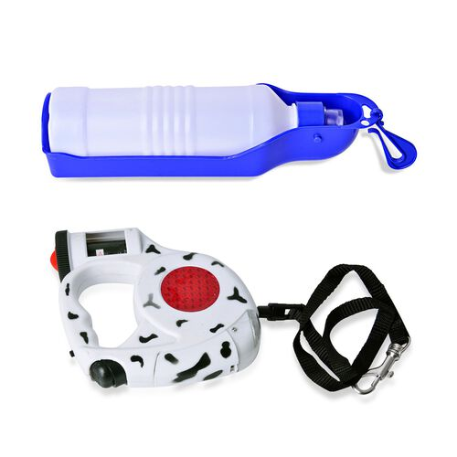 Pet Accessories- Red, White and Black Colour Retractable LED Leash with Blue and White Colour Water Bottle and Plastic Bag