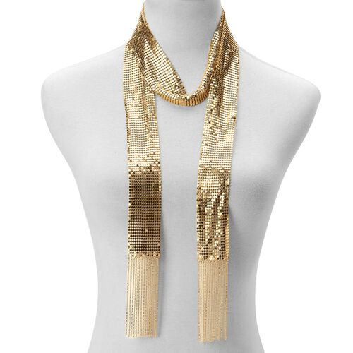Glittering Scarf Style Necklace (Size 50) and Bracelet (Size 7.5 with 2 inch Extender) in Gold Tone