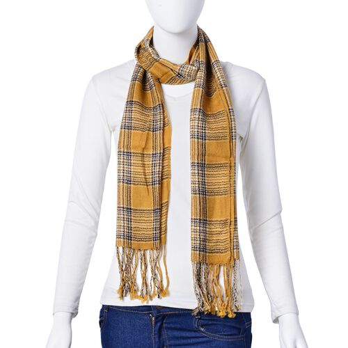 100% Wool Yellow, Grey and Multi Colour Checks Pattern Scarf with Tassels (Size 160X40 Cm)