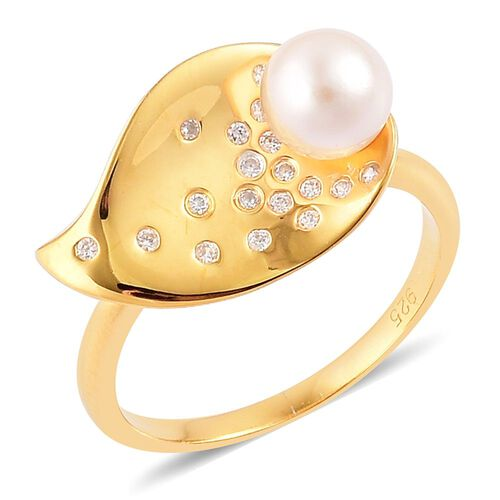 Japanese Akoya Pearl (Rnd 7-8mm), White Zircon Ring in Yellow Gold Overlay Sterling Silver