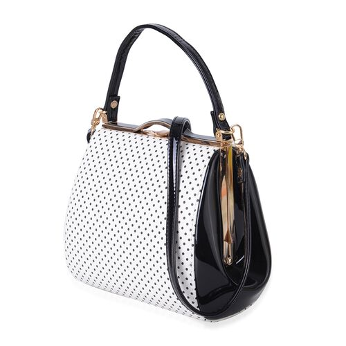 White and Black Colour Dots Pattern Tote Bag with Adjustable Shoulder Strap (Size 25x19x11 Cm)