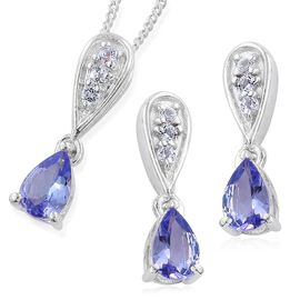 Tanzanite Pear, White Topaz Pendant With Chain and Stud Earrings with Push Back in Platinum Overlay Sterling Silver 1.50 Ct.