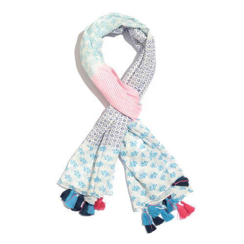 100% Cotton Hand Block Printed White, Blue, Pink and Multi Colour Pareo with Tassels (Size 180x100 Cm)