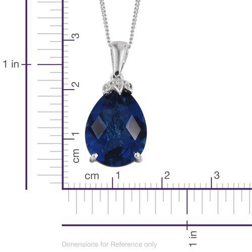 Checkerboard Cut Ceylon Colour Quartz (Pear) Solitaire Pendant With Chain in Platinum Overlay Sterling Silver 9.000 Ct.