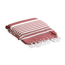 100% Supersoft Cotton Hammam Towel with Red and White Stripes and Inserted Foam Pillow (size 90x170 cm)