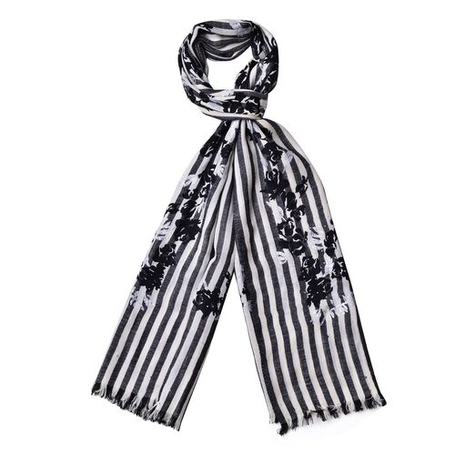 100% SuperSoft Wool Black and White Colour Stripes and Rose Pattern Scarf with Fringes (Size 200X90 Cm)