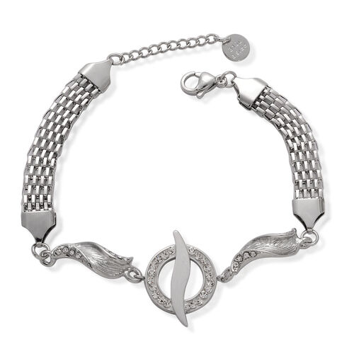 White Austrian Crystal Bracelet in Stainless Steel (Size 8 with 1 Inch Extender)