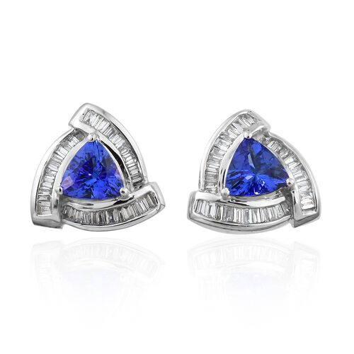 Limited Edition - ILIANA 18K White Gold AAA Tanzanite (Trl), Diamond Stud Earrings 2.000 Ct., Gold wt 4.00 Gms.
