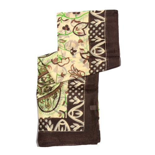 100% Mulberry Silk Chocolate, Green and Multi Colour Pattern Scarf (Size 180x100 Cm)