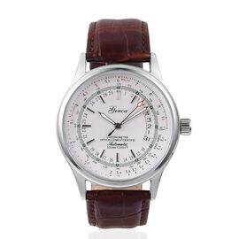 GENOA Automatic Machanical Movement White Dial Water Resistant Watch in Silver Tone with Reddish Brown Strap