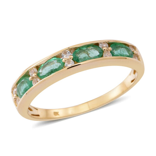 9K Y Gold AAA Kagem Zambian Emerald (Ovl), Natural Cambodian Zircon Ring 1.250 Ct.