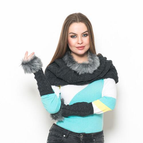 Charcoal Colour Knitted Snood (Free Size) and Hand Gloves with Fur