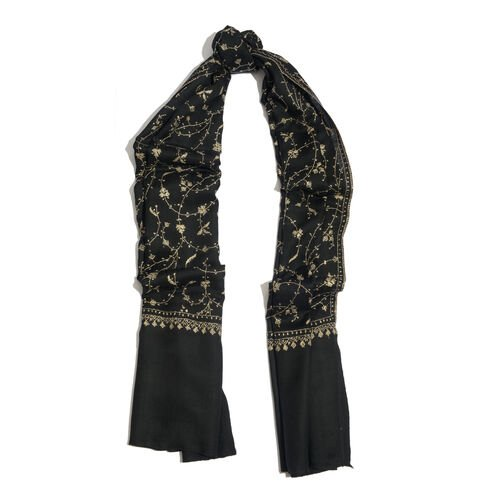 100% Merino Wool - Hand Embroidered Floral Pattern Kashmiri Black Woollen Shawl (Size 200x70 Cm)