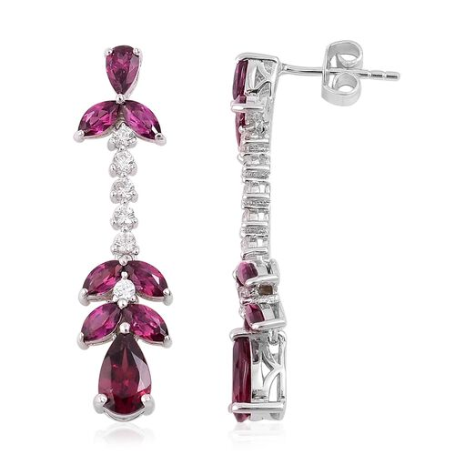 Rhodolite Garnet (Pear), Natural White Cambodian Zircon Earrings (with Push Back) in Rhodium Plated Sterling Silver 5.280 Ct.