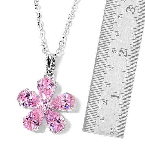 AAA Simulated Pink Sapphire Flower Pendant with Chain (Size 22) and Earrings in Silver Tone