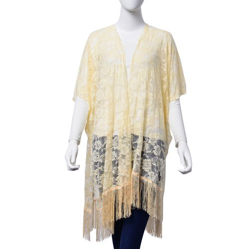 Floral Lace Pattern Light Yellow Colour Kimono - Jacket with Fringes (Free Size)