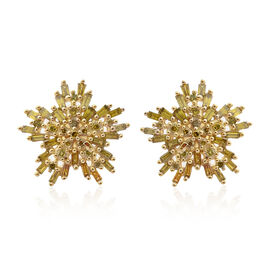 DOD - 9K Yellow Gold Canary Yellow Diamond (Bgt) (I3) Earrings (with Push Back) 0.750 Ct.